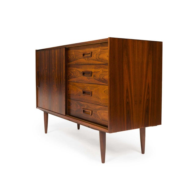Mid-Century Modern Vintage Danish Mid-Century Rosewood Four Drawer Credenza/Sideboard For Sale - Image 3 of 9