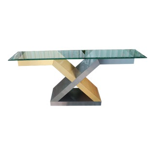 Vintage Glass X Console Table For Sale