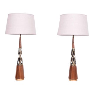 Pair of Mid-Century Modern Walnut & Brass Table Lamps For Sale