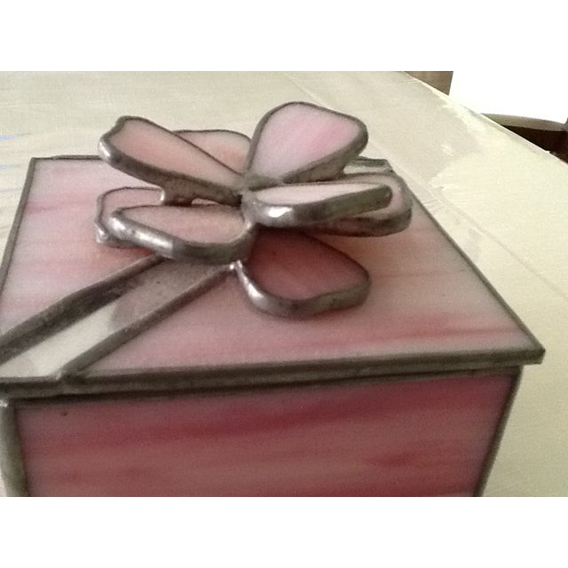 Vintage Pink Stained Glass Jewel Box For Sale In New York - Image 6 of 7