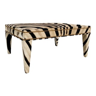 Modern Forsyth Zebra Hide Parsons Style Ottoman For Sale