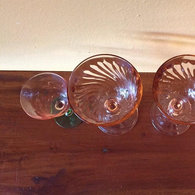 Art Deco Pink Glass Stemware - Set of 5 - Image 10 of 10