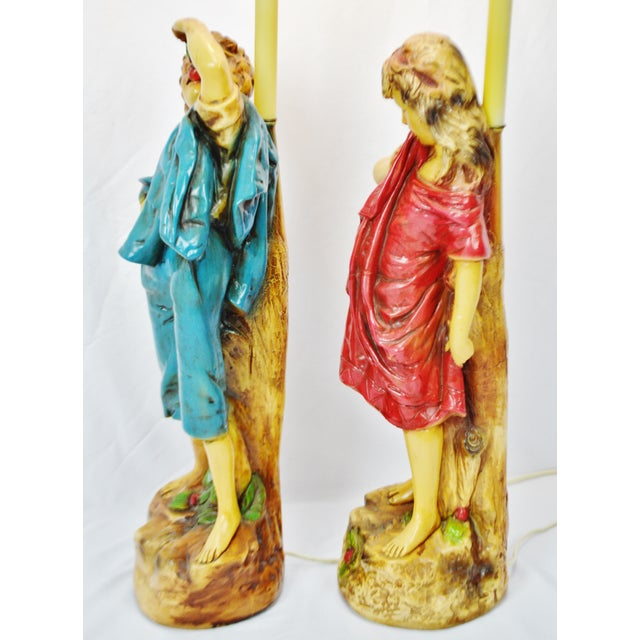Vintage Figural Chalkware Table Lamps Cherry Boy and Bashful Girl - a Pair For Sale - Image 9 of 13