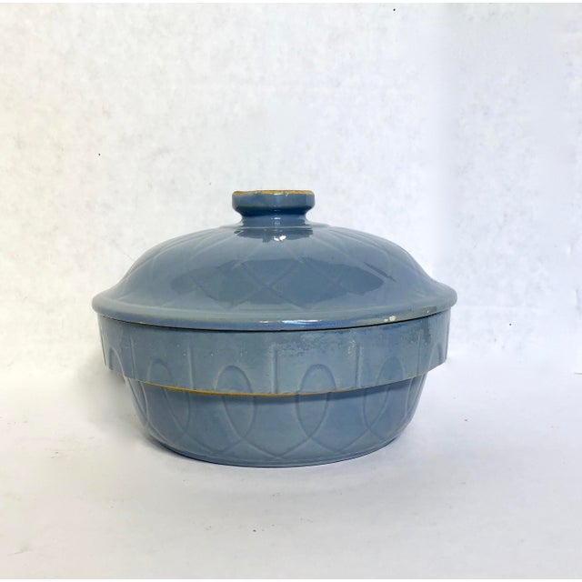 Blue 1930s Vintage Watt Pottery Blue Loops Covered Casserole For Sale - Image 8 of 8