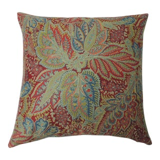 """Pair of Hand Printed """"Chandigarh"""" Paisley Multi-Color Decorative Pillows For Sale"""