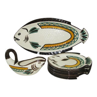 French C.1950 Hand Painted Fish Plate Set