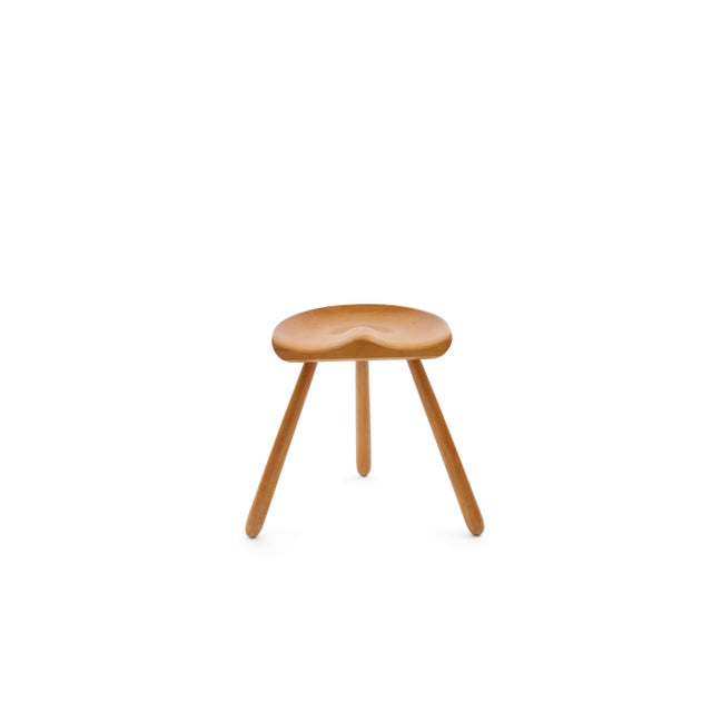 Arne Hovmand Olsen occasional stool, circa early 1960s. This all original example has three splayed solid beech legs with...