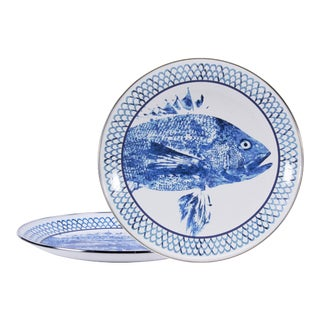 Charger Plates Fish Camp - Set of 2 For Sale