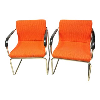 1970's Mid-Century Vintage Orange Tweed Chairs - a Pair For Sale