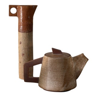 Ceramic Pitcher and (Tea) Pot, France, 1960s For Sale