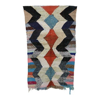 "Moroccan Kilim Boucherouite Rug- 4'2"" X 7'2"" For Sale"