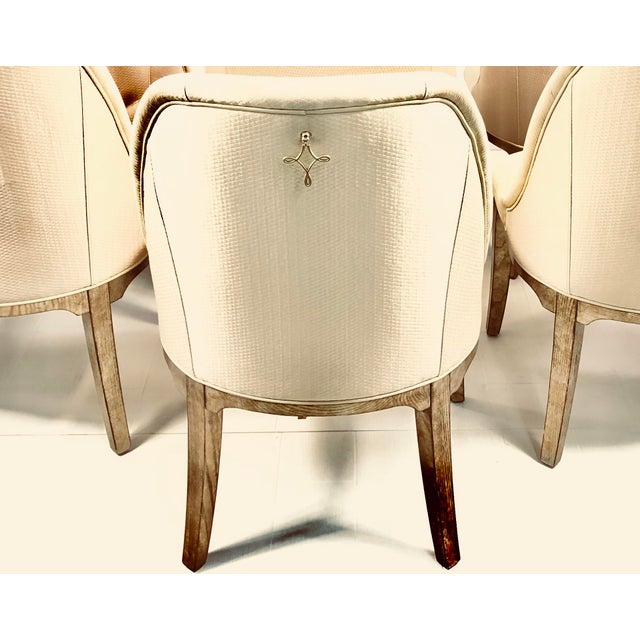 2010s Contemporary Champagne Cream Upholstered Dining Chairs - Set of 3 For Sale - Image 5 of 10