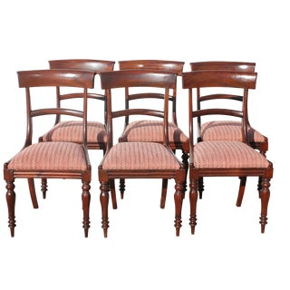 English Regency Saber Leg Dining Chairs - Set of 6