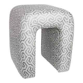 """Waterfall Stool Newly Re-Upholstered in """"Maritime Lagoon"""" by Fabricut For Sale"""