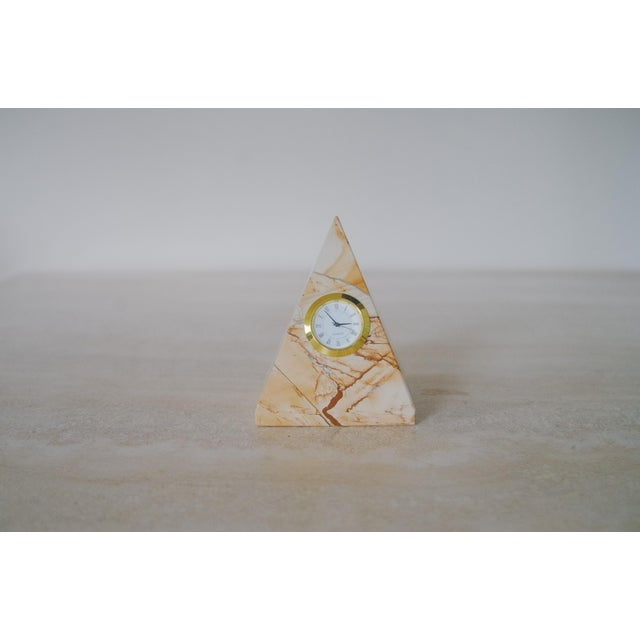 Stone Vintage Marble Pyramid Clock For Sale - Image 7 of 7