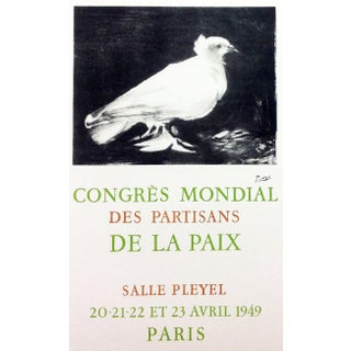 """1959 """"Congress Mondial"""" Pablo Picasso 60, Lithograph Art in Posters, Cubism, Modern Art For Sale"""