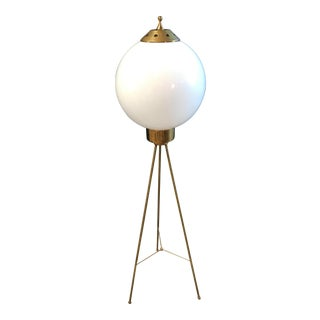 1950s Italian Brass and Milk Glass Shape Tripod Floor Lamp For Sale