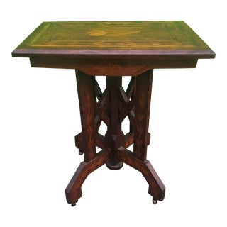1900s Victorian Eastlake Inlaid Lamp Table For Sale