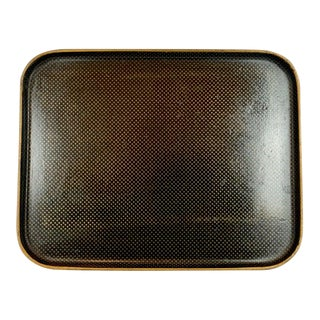 French Black Papier-Mache Rectangular Tray With Gold Star Pattern For Sale