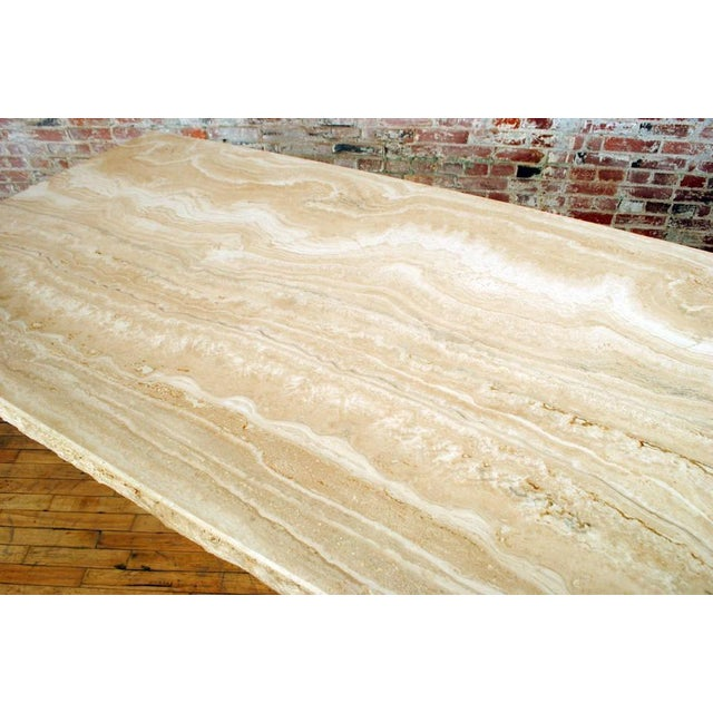 Travertine Pedestal Dining Table For Sale - Image 4 of 9