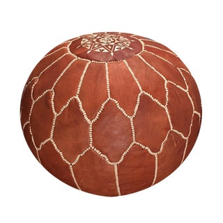 Half-Arch Shell Pouf Ottoman by Mpw Plaza (Unstuffed) Moroccan Leather Pouf Ottoman For Sale