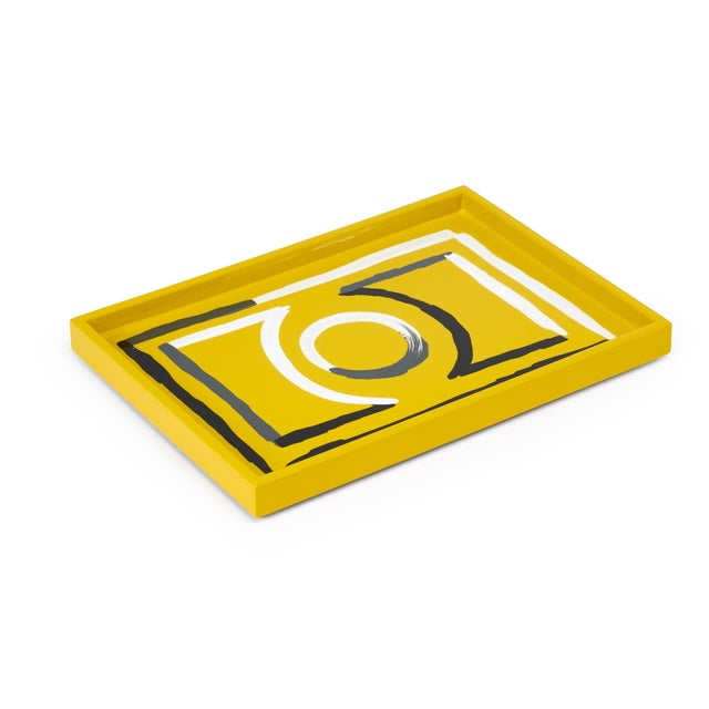 Contemporary Luke Edward Hall Collection Small Etienne Tray in Yellow For Sale - Image 3 of 3