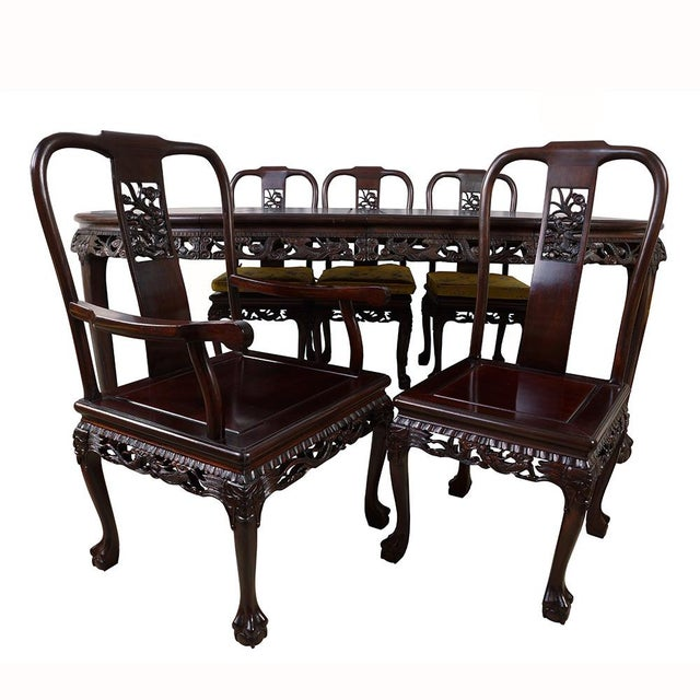 20th Century Chinese Carved Rosewood Dragon Dining Set For Sale - Image 9 of 13