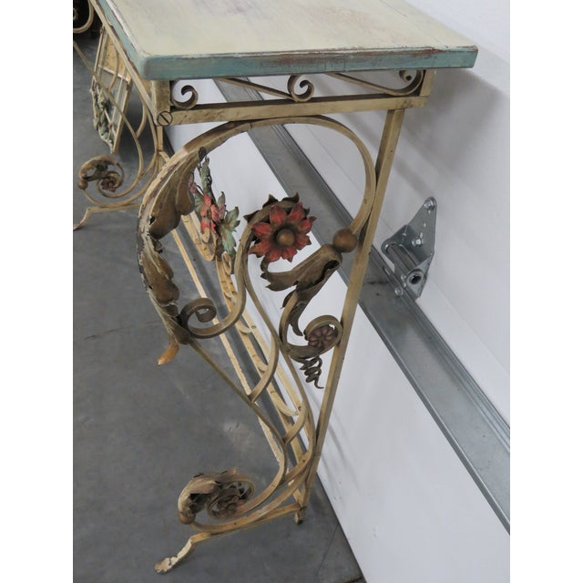 Mid 20th Century Venetian Style Wrought Iron Console and Mirror For Sale - Image 5 of 12