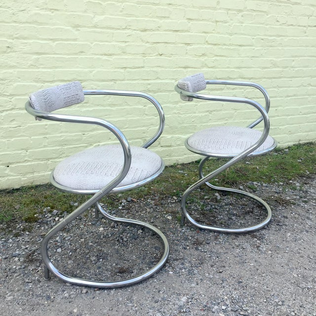 Pair of Thonet Style Faux Snake Skin & Chrome Cantilever Chairs For Sale - Image 13 of 13