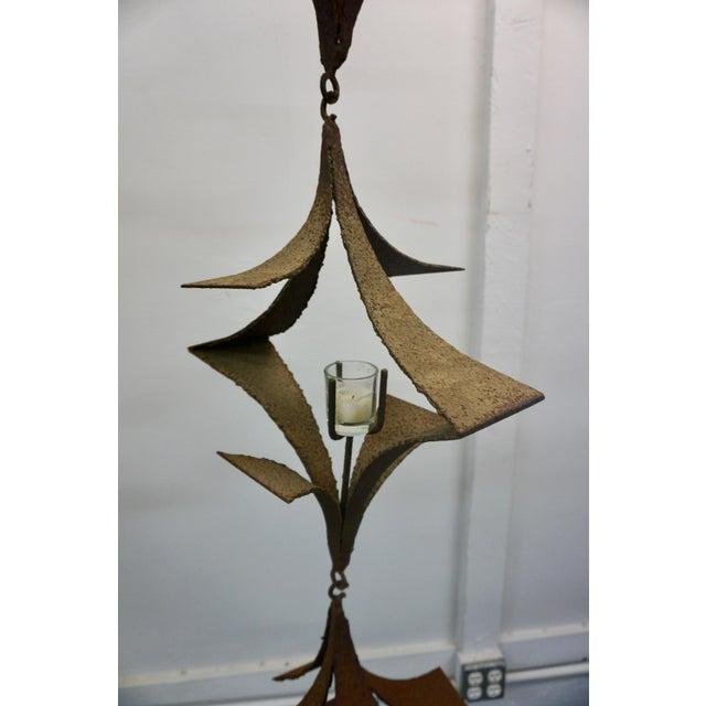 1960s 1960s Vintage Brutalist Sculptural Torch Cut Wrought Iron Lanterns - 5 Pieces For Sale - Image 5 of 8