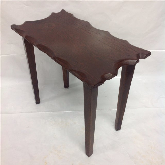 Country Mid Century Craftsman Style Dark Wood Side Table For Sale - Image 3 of 5