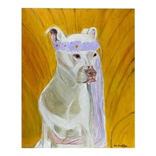 White Princess Dog Portrait Painting For Sale