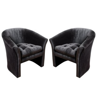 Mid-Century Modern Black Velvet Tub Barrel Chairs - a Pair For Sale