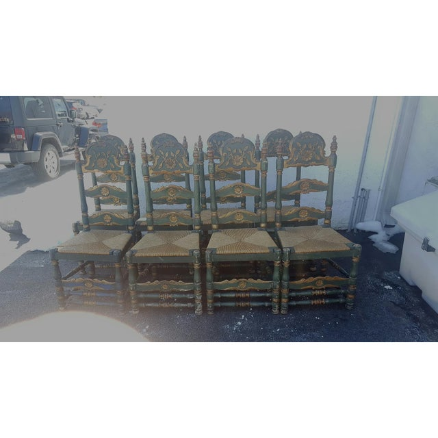 Green Painted Ladder Back Dining Chairs- Set of 8 - Image 2 of 10