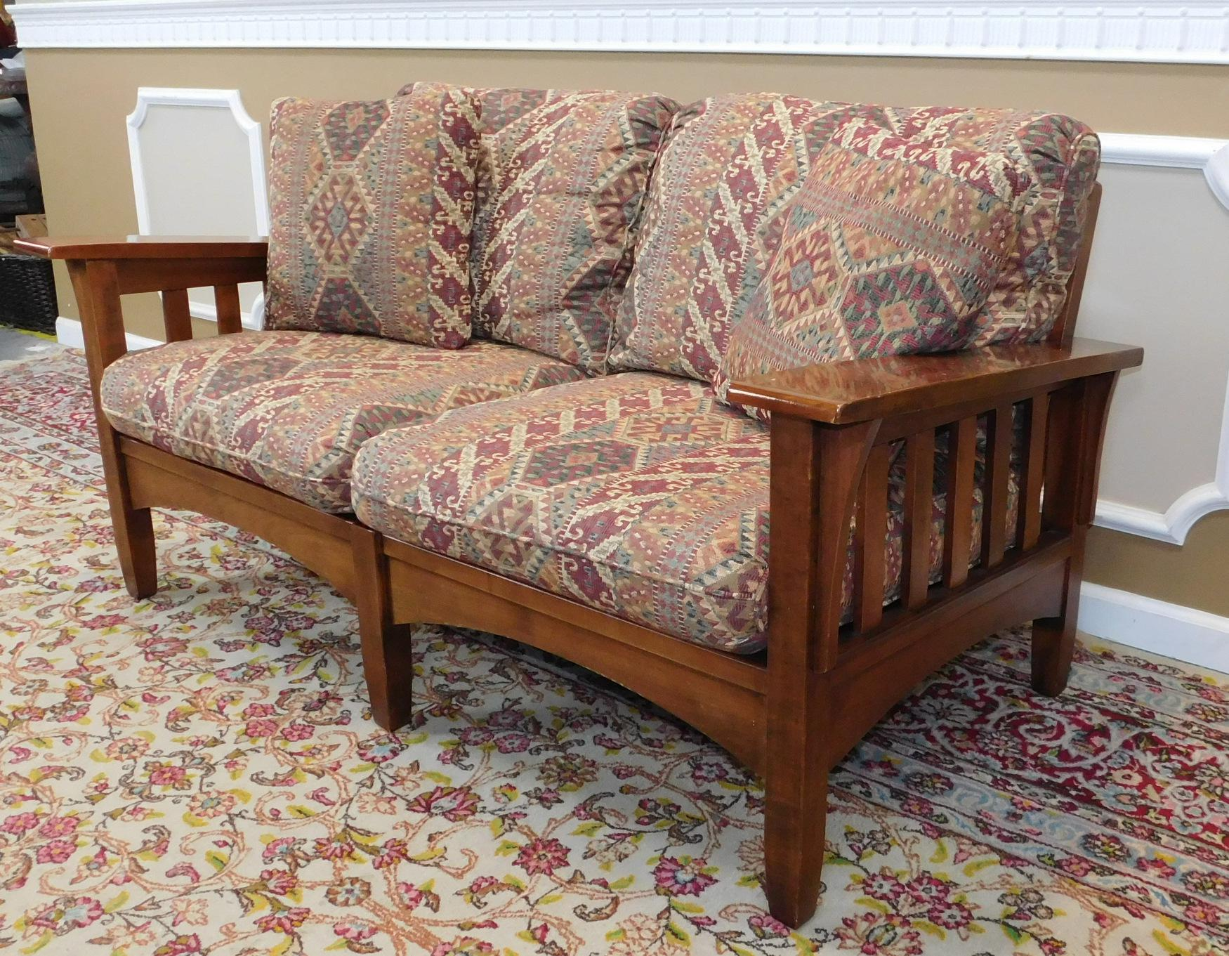 Ethan Allen Woodstock Cherry Mission Loveseat Chairish
