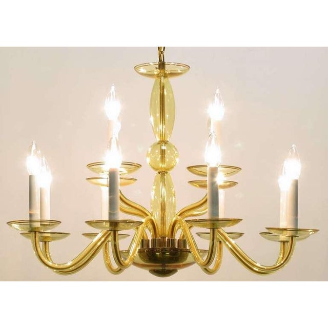 1940s Twelve-Arm Murano Deep Champagne Glass Chandelier For Sale In Chicago - Image 6 of 9