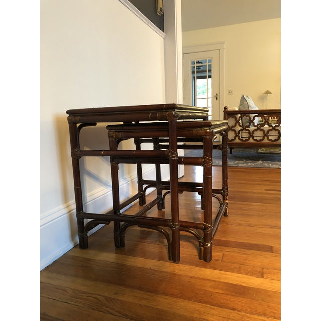 Bamboo Mitchell Gold & Bob Williams Modern Bamboo Rattan Nesting Tables - a Pair For Sale - Image 7 of 7