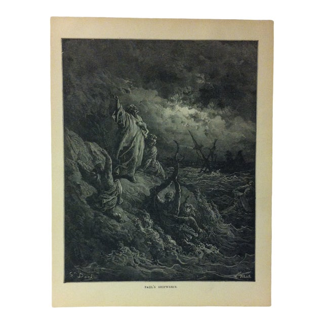 """Antique Gustave Dore' Illustrated Print on Paper """"Paul's Shipwreck"""" 1901 For Sale"""