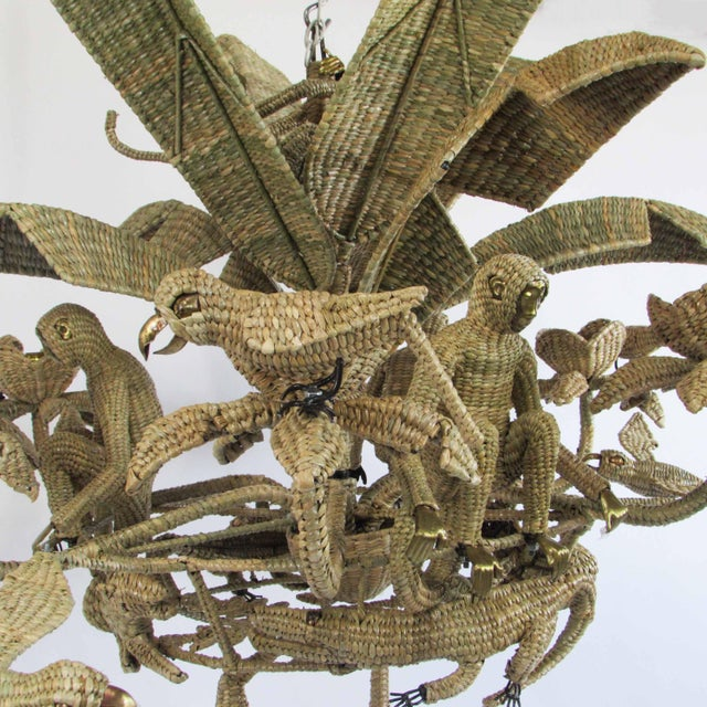 Mid 20th Century Large Mario Lopez Torres Parrot Toucan Monkey Chandelier For Sale - Image 5 of 8