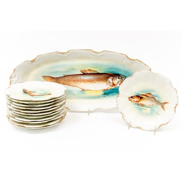 Late 18th Century Antique Limoges Fish Motif Serving Set - 13 Pieces For Sale - Image 11 of 11