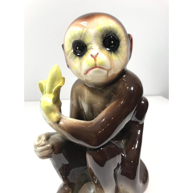Brown Mid-Century Tilso Ceramic Monkey Figurine For Sale - Image 8 of 10