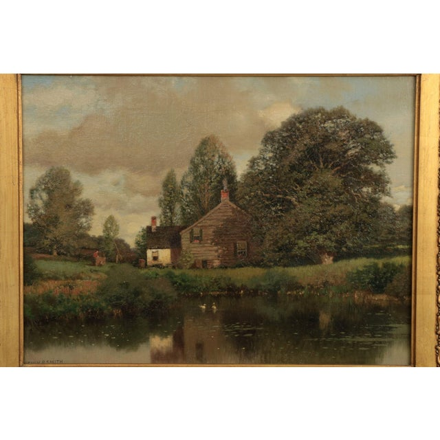 Henry Pember Smith (American, 1854-1907) Landscape Painting of Cottage by Lake This very finely painted scene depicts a...