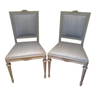Painted Swedish Gustavian Side Chairs With Upholstered Seat- a Pair For Sale