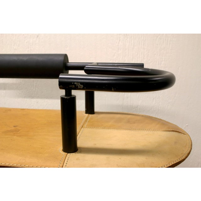 Vintage Ettore Sottsass Postmodern Memphis Group Style Steel and Leather Bench For Sale - Image 9 of 13