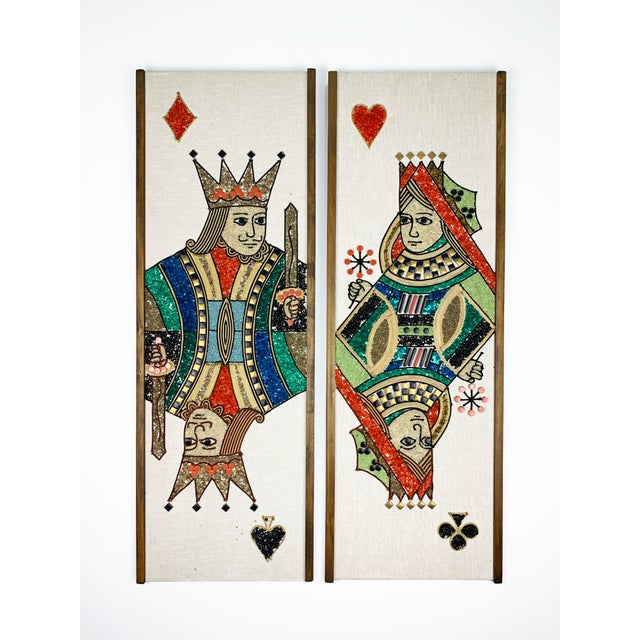1970s Gravel Art Panels King + Queen, Circa 1970s - a Pair For Sale - Image 11 of 11