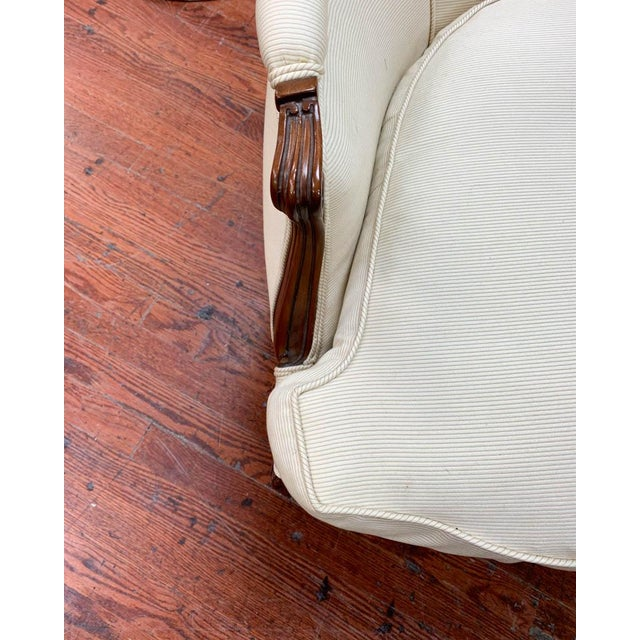Pair of French Arm Chairs With Bow Tie Ottoman For Sale - Image 4 of 10