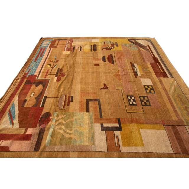 Vintage Art Deco Style Square Wool Rug For Sale - Image 12 of 13