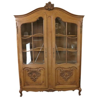 Bookcase Louis XV French Rococo Vintage 1950 Oak For Sale