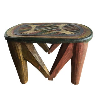 "African Lg Colorful Nupe Stool / Table Nigeria 11.75 H by 19"" W For Sale"