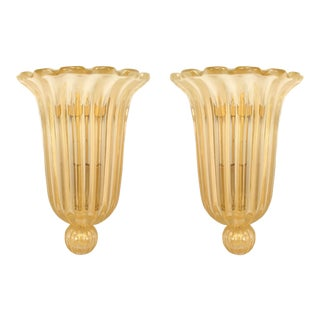 Italian Fluted and Scalloped Gold Murano Glass Sconces - a Pair For Sale